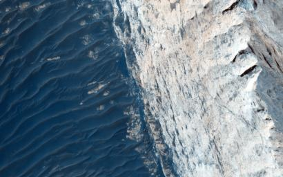 Ophir Chasma forms the northern portion of Valles Marineris, and this image from NASA's Mars Reconnaissance Orbiter spacecraft features a small part of its wall and floor.