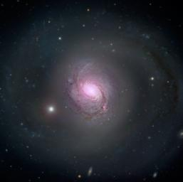 Galaxy NGC 1068 is shown in visible light and X-rays in this composite image. High-energy X-rays (magenta) captured by NASA's NuSTAR, are overlaid on visible-light images from both NASA's Hubble Space Telescope and the Sloan Digital Sky Survey.