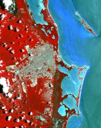 This image from NASA's Terra spacecraft shows Cancun, a resort city on the east side of Mexico's Yucatan Peninsula.