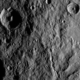 This image of Ceres from NASA's Dawn spacecraft shows hummocky terrain -- a surface covered in low, rounded hills -- with numerous impact craters of varying sizes.