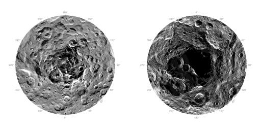 Researchers from NASA's Dawn mission have composed the first comprehensive views of the north (left) and south pole regions (right) of dwarf planet Ceres, using images obtained by the Dawn spacecraft.