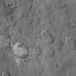 This image from NASA's Dawn spacecraft shows the dramatic-looking crater named Haulani on Ceres.