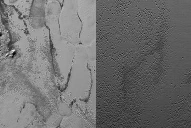 NASA's New Horizons cameras have spied swarms of mysterious 'pits' across the informally named Sputnik Planum. Scientists believe the pits may form through a combination of sublimation and ice fracturing.