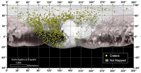 Locations of more than 1,000 craters mapped on Pluto by NASA's New Horizons mission indicate a wide range of surface ages, which likely means that Pluto has been geologically active throughout its history.