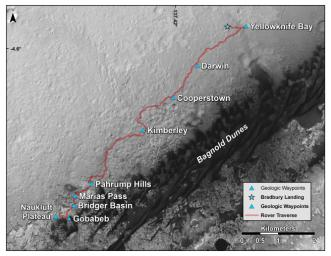 This map shows the route driven by NASA's Curiosity Mars rover from the location where it landed in August 2012 to its location in early March 2016, approaching a geological waypoint called Naukluft Plateau.