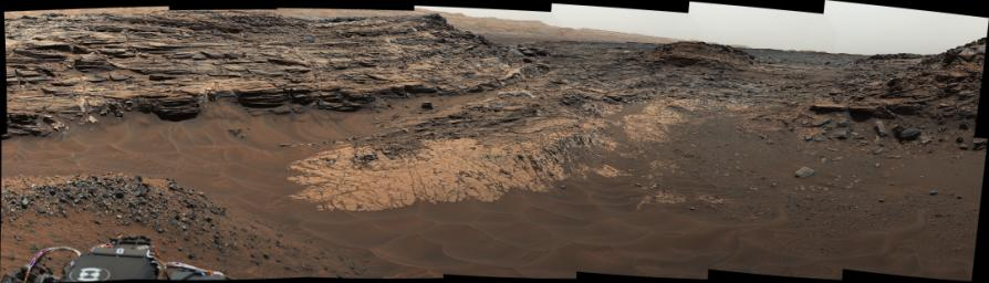 This view from the Mast Camera (Mastcam) in NASA's Curiosity Mars rover shows the 'Marias Pass' area where a lower and older geological unit of mudstone.