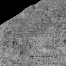 This view of Ceres, taken by NASA's Dawn spacecraft on December 10, 2015, shows an area in the southern mid-latitudes of the dwarf planet. It is located in an area around a crater chain called Samhain Catena.