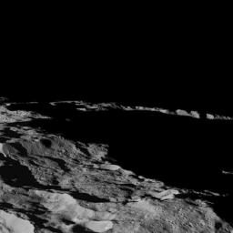 As seen by NASA's Dawn spacecraft, this part of Ceres, near the south pole, has such long shadows because, from the perspective of this location, the sun is near the horizon.