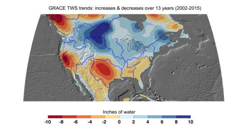 Cumulative total freshwater losses in the United States from 2002 to 2015 (in inches) observed by NASA's GRACE mission. Total water refers to all of the snow, surface water, soil water and groundwater combined.