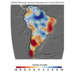 Cumulative total freshwater losses in South America from 2002-2015 (in inches) observed by NASA's GRACE mission. Total water refers to all of the snow, surface water, soil water and groundwater combined.