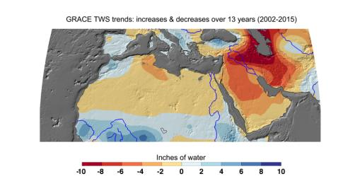Cumulative total freshwater losses in North Africa and the Middle East from 2002 to 2015 (in inches) observed by NASA's GRACE mission. Total water refers to all of the snow, surface water, soil water and groundwater combined.
