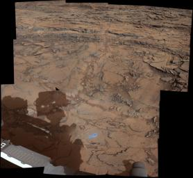 This view from the Mast Camera (Mastcam) on NASA's Curiosity Mars rover covers an area in 'Bridger Basin' that includes the locations where the rover drilled a target called 'Big Sky' on the mission's Sol 1119 (Sept. 29, 2015).