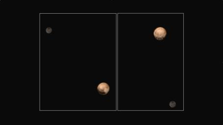 Pluto shows two remarkably different sides in these color images of the planet and its largest moon, Charon, taken by NASA's New Horizons on June 25 and June 27, 2015.
