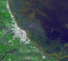 On Jan. 6, 2016, NASA's Terra spacecraft flew over Rosario, Argentina located northwest of Buenos Aires, on the western shore of the Parana River where the floodplain is still under water or wet.