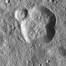 NASA's Dawn spacecraft captured this image on Dec. 18, 2015 of unnamed craters near the equator of Ceres. The image is centered at approximately 4 degrees south latitude, 350 degrees east longitude.