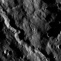 This moody scene from NASA's Dawn spacecraft taken on Dec. 23, 2015, captures a portion of the southern hemisphere of Ceres. The image is centered at approximately 64 degrees south latitude, 291 degrees east longitude.