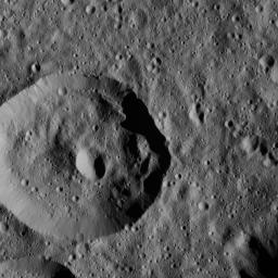 This image, taken by NASA's Dawn spacecraft, shows a densely cratered region within Meanderi Crater on Ceres. Elongated craters in the wall of the largest impact feature are likely the result of material slumping down the crater walls.