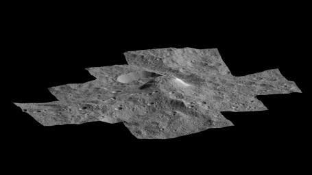 This side-perspective view of Ceres' mysterious mountain Ahuna Mons was made with images from NASA's Dawn spacecraft. Dawn took these images in December 2015.