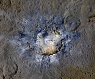 Haulani Crater in enhanced colour, highlighting newer material in blue, NASA/JPL
