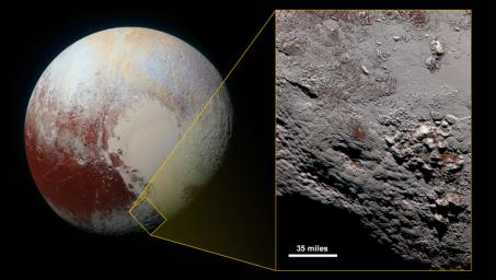 Scientists with NASA's New Horizons mission have assembled the highest-resolution color view of one of two potential cryovolcanoes spotted on the surface of the distant planet by the passing New Horizons spacecraft in July 2015.