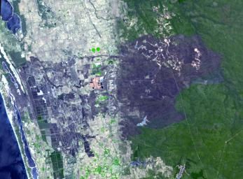 NASA's Terra spacecraft acquired this image of the remote town of Yarloop, about 75 miles (120 km) south of the Western Australian capital of Perth, was destroyed as part of a 100,000-acre (405-square km) blaze that started on January 7, 2016.
