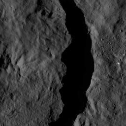 This image from NASA's Dawn spacecraft shows the interior of the crater Datan, which is superimposed on the northwestern rim of the larger crater Geshtin. The area at right, above the rim of Datan, is within Geshtin.
