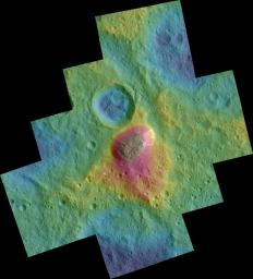 These color topographic views from NASA's Dawn spacecraft show variations in surface height around Ahuna Mons, a mysterious mountain on Ceres.