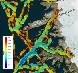 This image shows a region of the sea floor off the coast of northwest Greenland mapped as part of NASA's Oceans Melting Greenland (OMG) mission. The data shown here will be used to understand the pathways by which warm water can reach glacier edges.