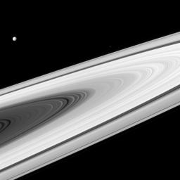 This image from NASA's Cassini spacecraft captures Saturn's main rings, along with its moons, which are much brighter than most stars.