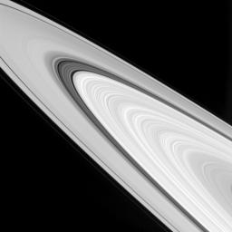 This view from NASA's Cassini spacecraft showcases some of the amazingly detailed structure of Saturn's rings. The image was taken in visible light with the Cassini spacecraft wide-angle camera on Sept. 24, 2016.