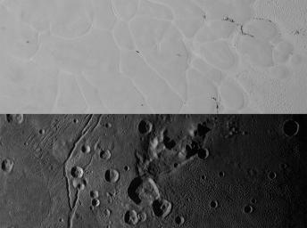 NASA's New Horizons views the informally named Sputnik Planum on Pluto (top) and the informally named Vulcan Planum on Charon (bottom).