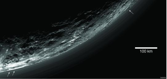 This image of haze layers above Pluto's limb was taken by NASA's New Horizons spacecraft. About 20 haze layers are seen.