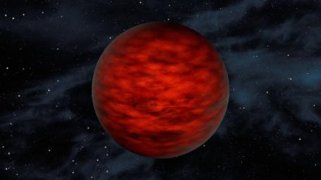 A young, free-floating world sits alone in space in this illustration. The object, called WISEA J114724.10-204021.3, is thought to be an exceptionally low-mass brown dwarf.