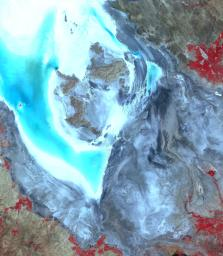 This image from NASA's Terra spacecraft shows Lake Urmia, a saline lake in northwestern Iran.