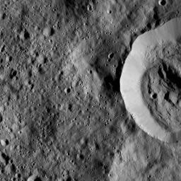 This view from NASA's Dawn spacecraft features the sharp rim of a steep-walled crater on Ceres.