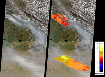 On May 6, 2016, NASA's Terra spacecraft captured this image of devastating wildfires in Alberta Province, Canada, near the city of Fort McMurray which began on May 1, 2016.