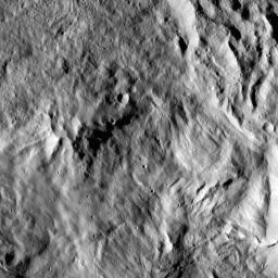 This image from NASA's Dawn spacecraft shows the center of Datan Crater on Ceres. Datan measures about 40 miles (60 kilometers) in diameter.