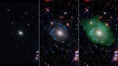 NASA's GALEX reveals the true nature of UGC 1382, dubbed the 'Frankenstein galaxy.' Scientists have discovered that UGC 1382 is a giant, and one of the largest isolated galaxies known.