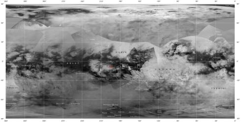 This map of Titan from NASA's Cassini imaging coverage, shows the names of many (but not all) features on the Saturnian moon that have been approved by the International Astronomical Union.