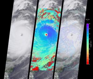 NASA's Terra satellite captured this this view of Typhoon Nepartak on July 7, 2016, at 10:30 a.m. local time. On the left is an image from the nadir (vertical pointing) camera, which shows the central portion of Nepartak and the storm's eye.