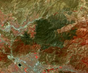 This image, captured by NASA's Terra spacecraft in July, 2016, shows the Sand fire, in the mountains northwest of Los Angeles, CA which burned more than 39,000 acres, destroyed 18 houses, and caused one fatality.