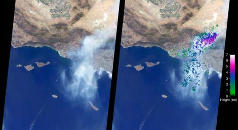NASA's Terra spacecraft captured this image of the Sand Fire in Southern California. The satellite passed over the region on July 23, 2016.