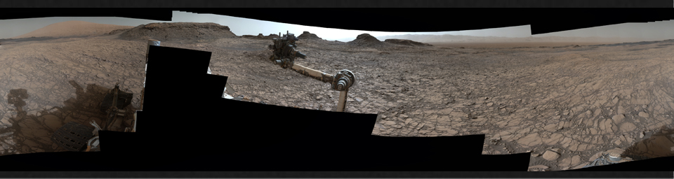 This 360-degree panorama was acquired by the Mast Camera (Mastcam) on NASA's Curiosity Mars rover as the rover neared features called 'Murray Buttes' on lower Mount Sharp.
