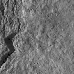 This view from NASA's Dawn spacecraft features the rugged rim of Occator Crater at left. A number of thin fractures are visible, roughly parallel to the rim.