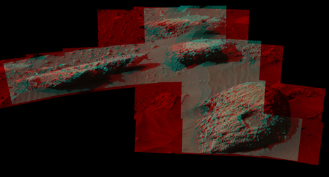 The rock in the foreground at right in this 3D scene is informally named 'Balombo.' The group of boulders is at a site called 'Bimbe.' NASA's Curiosity Mars Rover shows boulders composed of pebble-size and larger rock fragments.