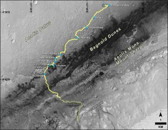 This map shows the route driven by NASA's Curiosity Mars rover from the location where it landed in August 2012 to its location in September 2016 at 'Murray Buttes', and the path planned for reaching destination at lower Mount Sharp.