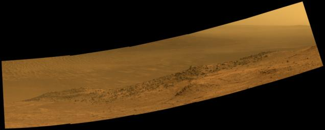 This scene from NASA's Mars Exploration Rover Opportunity shows 'Wharton Ridge,' which forms part of the southern wall of 'Marathon Valley' on the western rim of Endeavour Crater.