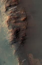 This map show a portion of Endeavour Crater's western rim that includes the 'Marathon Valley' area investigated intensively by NASA's Mars Exploration Rover Opportunity in 2015 and 2016.