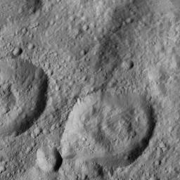NASA's Dawn spacecraft spied this relatively smooth area of Ceres' surface, which includes the feature named Dalien Tholus, a dome-shaped feature visible in top right quadrant of the image.