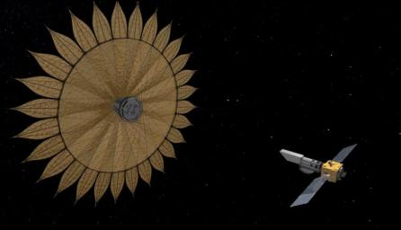 This artist's rendering shows the proposed starshade flying in sync with a space telescope. The giant sunflower-like structure would be used to acquire images of Earth-like rocky planets around nearby stars.